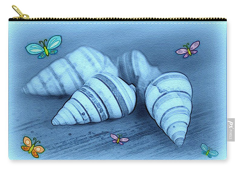 Shell Art Carry-all Pouch featuring the photograph Blue Seashells by Linda Sannuti