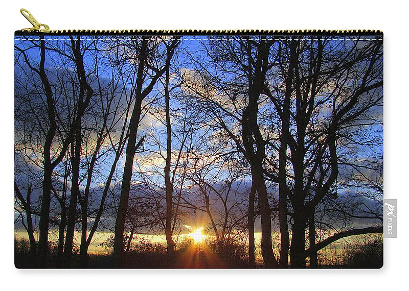 Sunset Carry-all Pouch featuring the photograph Blue Skies And Golden Sun by J R Seymour