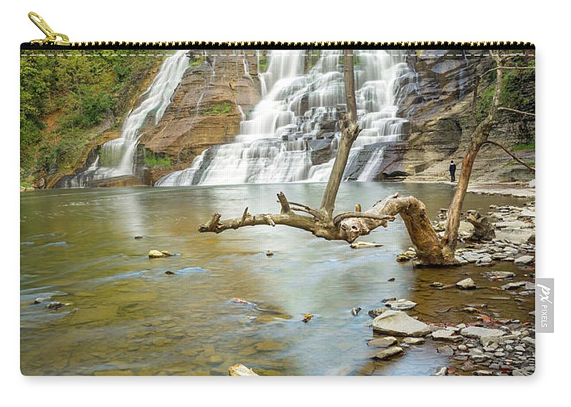 New York Carry-all Pouch featuring the photograph Blue Skies Over Ithaca Falls by Karen Jorstad