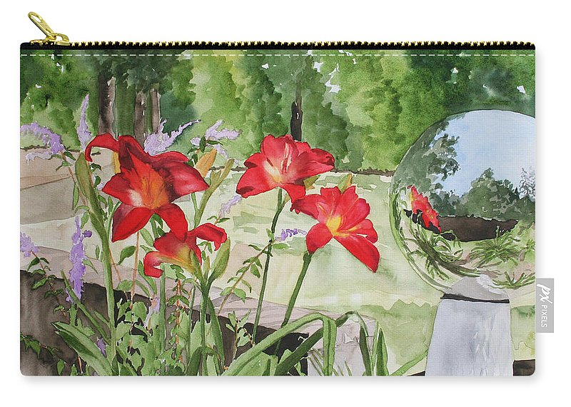 Flowers Carry-all Pouch featuring the painting Blue Sky Reflections by Jean Blackmer