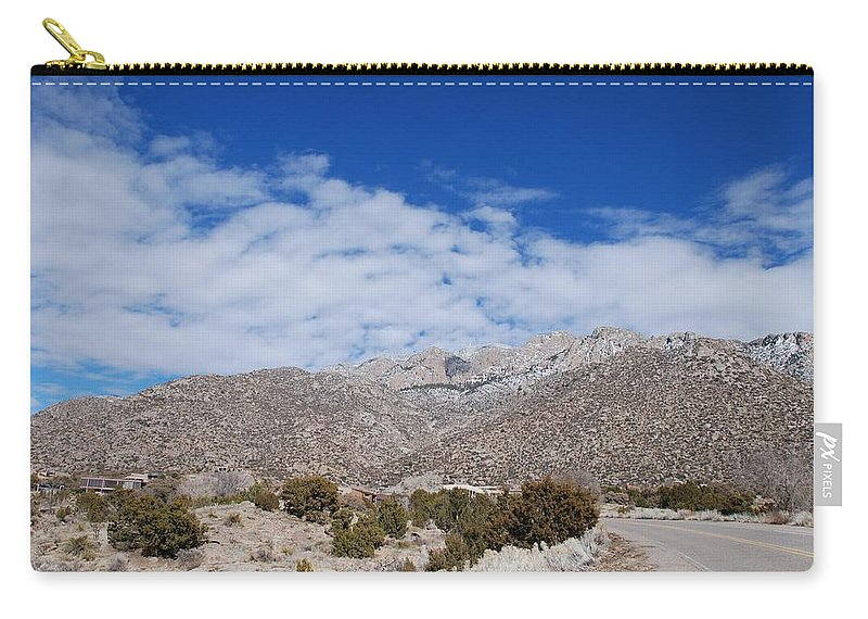 Sandia Mountains Carry-all Pouch featuring the photograph Blue Skys Over The Sandias by Rob Hans