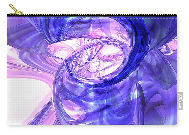 3d Carry-all Pouch featuring the digital art Blue Smoke Abstract by Alexander Butler