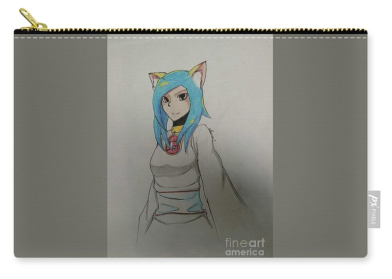 Neko Carry-all Pouch featuring the drawing Blue Snazzy by Lauren Champion