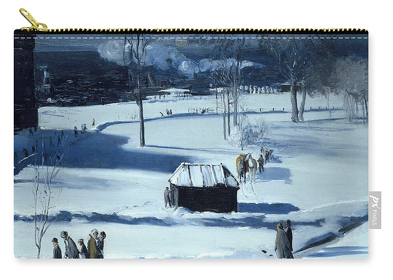 George Bellows Carry-all Pouch featuring the painting Blue Snow. The Battery by George Bellows