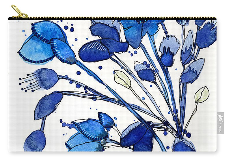 Bouquet Carry-all Pouch featuring the painting Blue Spray by Tonya Doughty