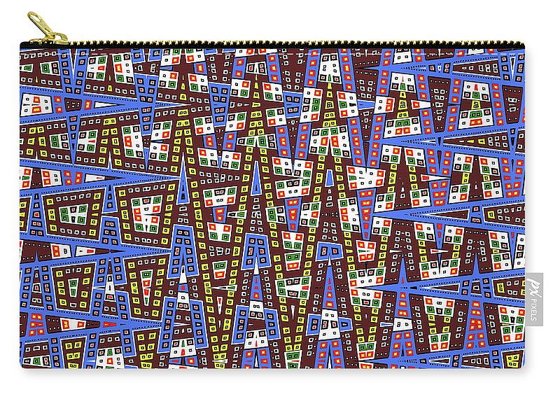 Blue Squares With Dots Carry-all Pouch featuring the digital art Blue Squares With Dots by Tom Janca