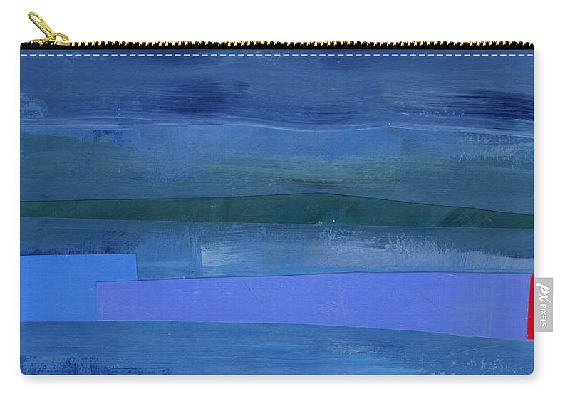 Abstract Art Carry-all Pouch featuring the painting Blue Stripes 1 by Jane Davies