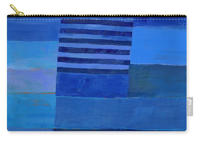 Abstract Art Carry-all Pouch featuring the painting Blue Stripes 7 by Jane Davies