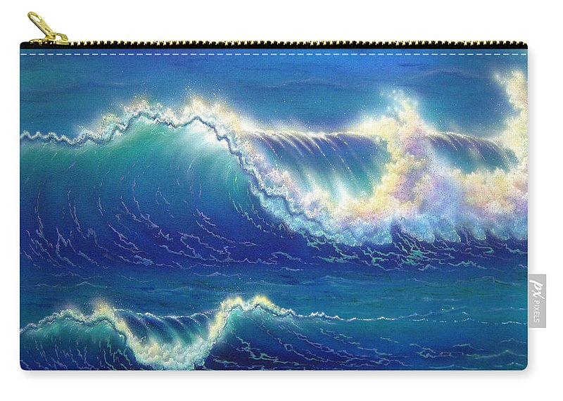 Seascape Carry-all Pouch featuring the painting Blue Thunder by Angie Hamlin