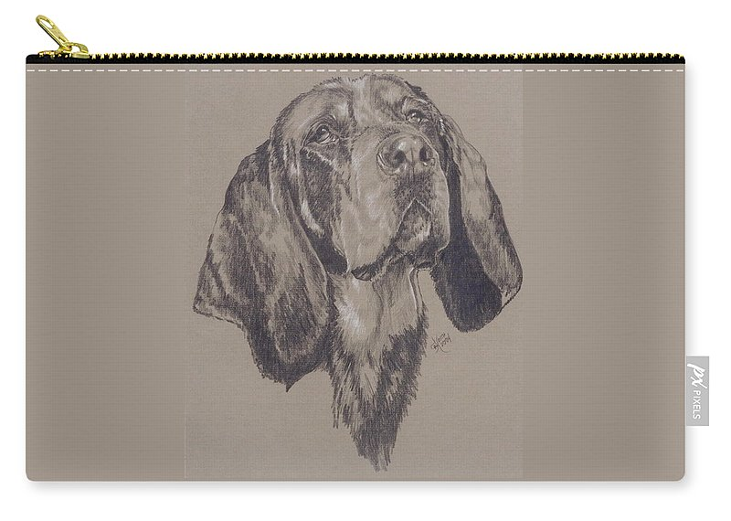 Purebred Carry-all Pouch featuring the drawing Blue Tick Coonhound by Barbara Keith