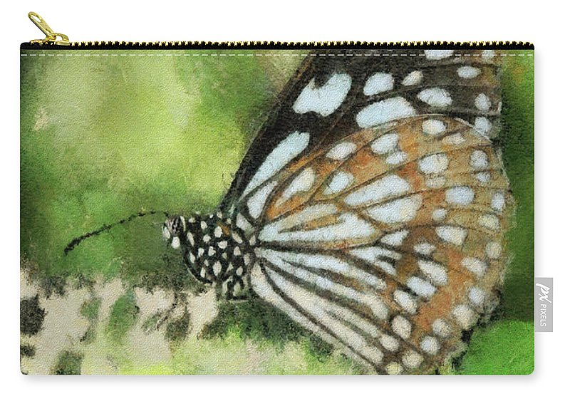 Butterfly Carry-all Pouch featuring the photograph Blue Tiger by Lois Bryan
