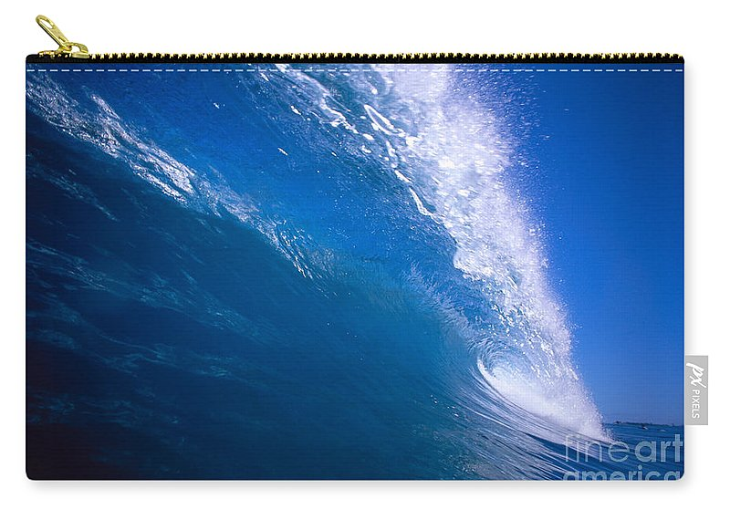 B1494 Carry-all Pouch featuring the photograph Blue Translucent Wave by Vince Cavataio - Printscapes