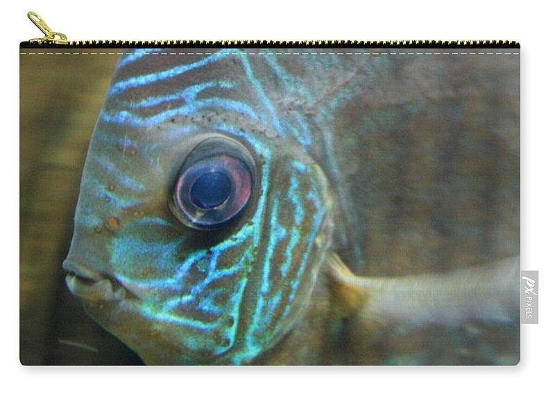 Blue Fish Carry-all Pouch featuring the greeting card Blue Tropical Fish by Carol Groenen