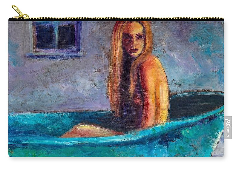 Nude Carry-all Pouch featuring the painting Blue Tub Study by Jason Reinhardt