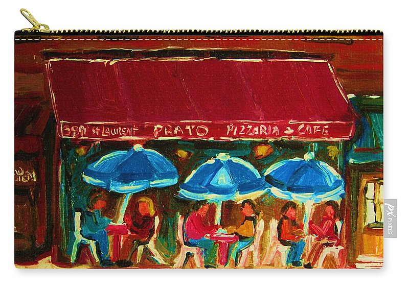 Cafes Carry-all Pouch featuring the painting Blue Umbrellas by Carole Spandau