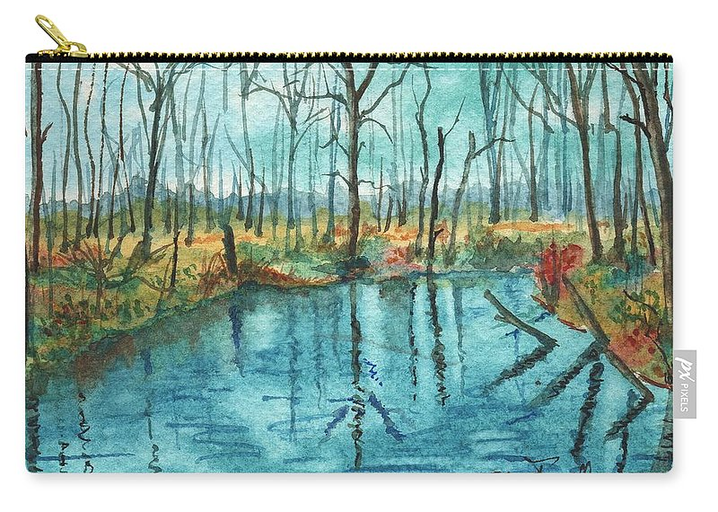 Wiarton Carry-all Pouch featuring the painting Blue Under Blue by Glenn Farrell