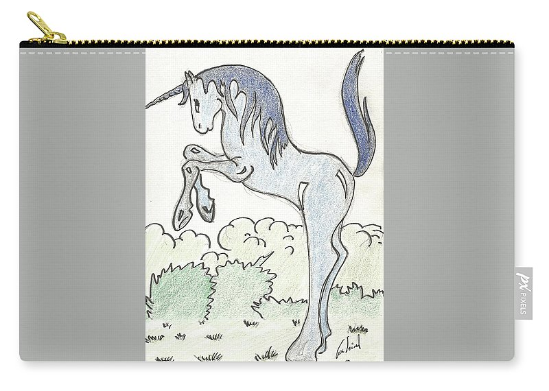 Unicorn Carry-all Pouch featuring the drawing Blue Unicorn by Gabriel Coelho