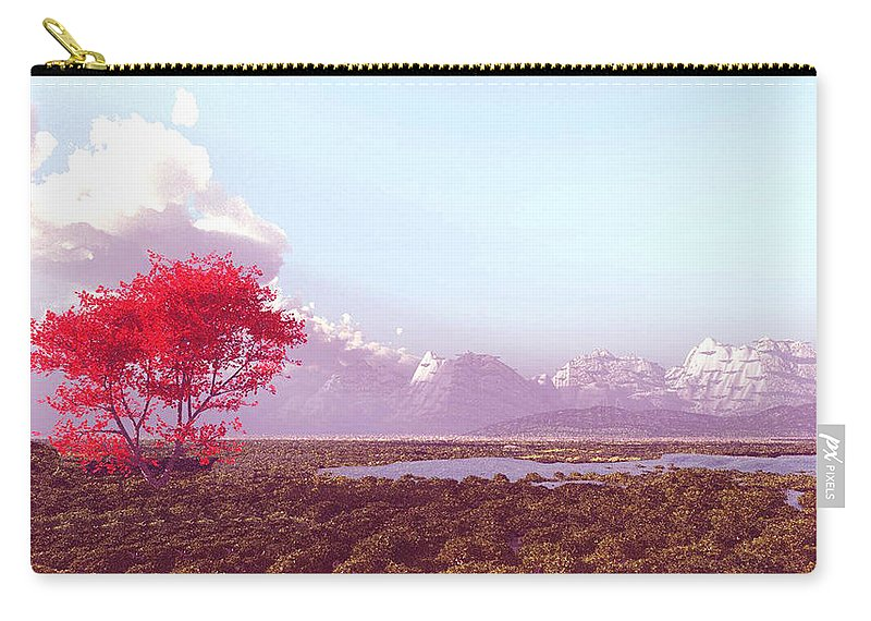 Nature Carry-all Pouch featuring the digital art Blue Valley Lake by John Junek