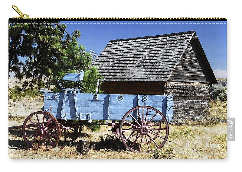 Wagon Carry-all Pouch featuring the photograph Blue Wagon by David Lee Thompson
