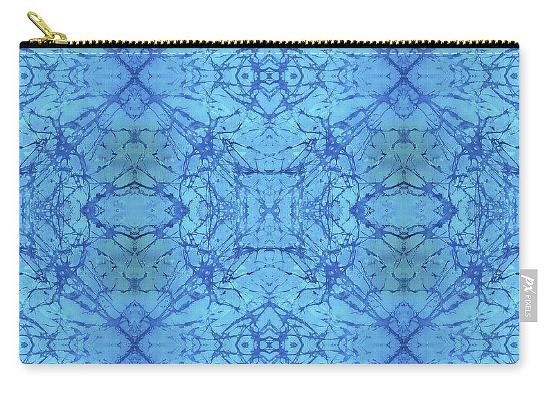 Blue Carry-all Pouch featuring the painting Blue Water Batik Tiled by Sue Duda