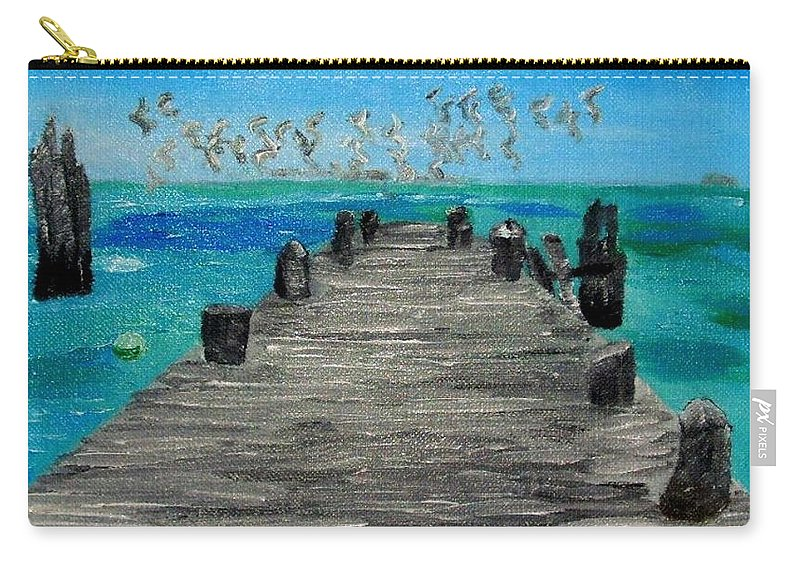 Beach Carry-all Pouch featuring the painting Blue Water by Leslye Miller