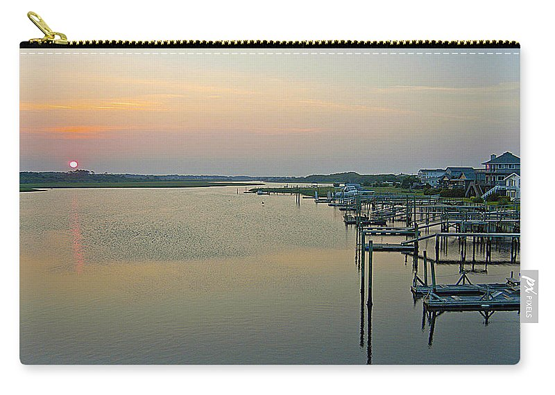 Blue Water Point Carry-all Pouch featuring the photograph Blue Water Point Sunset by Robert Ponzoni
