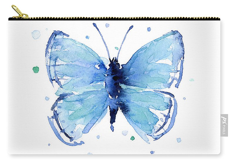 Watercolor Carry-all Pouch featuring the painting Blue Watercolor Butterfly by Olga Shvartsur