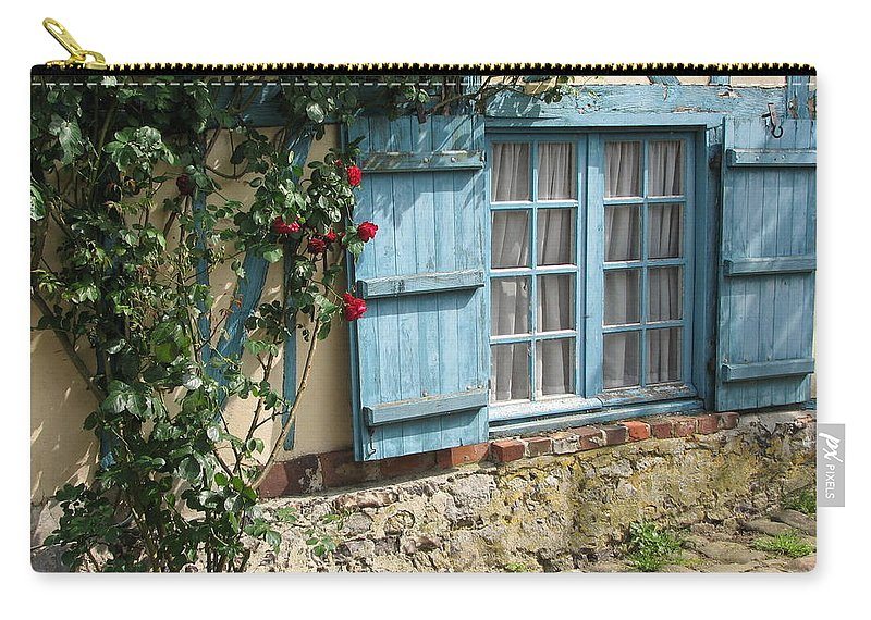 Window Carry-all Pouch featuring the photograph Blue Window by Mary Ellen Mueller Legault