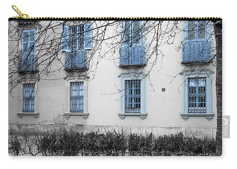 Italy Carry-all Pouch featuring the photograph Blue Windows And Balconies by Wolfgang Stocker