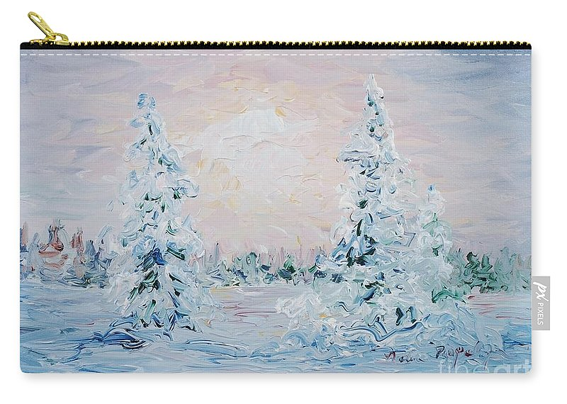 Landscape Carry-all Pouch featuring the painting Blue Winter by Nadine Rippelmeyer