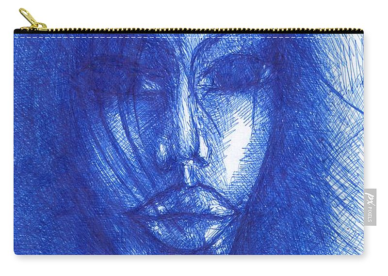 Psychedelic Carry-all Pouch featuring the drawing Blue by Wojtek Kowalski