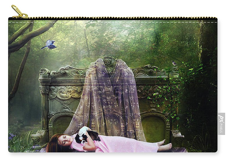 Girl Carry-all Pouch featuring the digital art Bluebell Dreams by Karen Koski