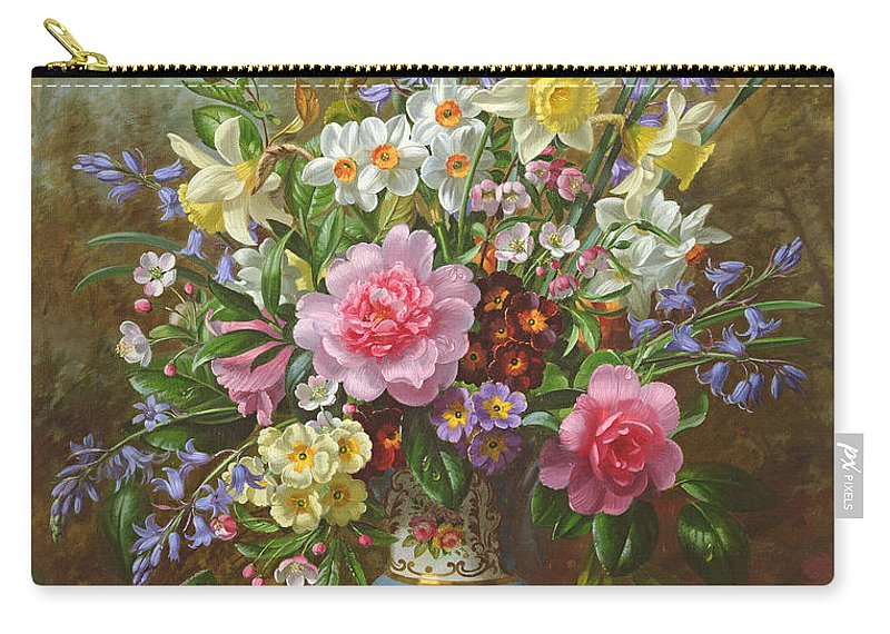 Spring Carry-all Pouch featuring the painting Bluebells Daffodils Primroses And Peonies In A Blue Vase by Albert Williams