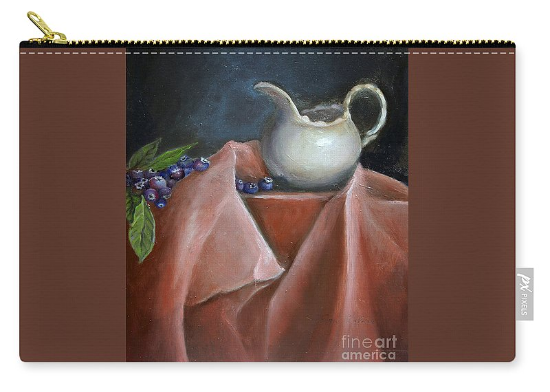 Blueberries Carry-all Pouch featuring the painting Blueberries And Cream by Portraits By NC