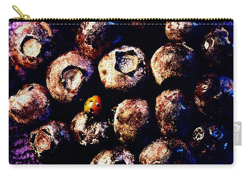 Blueberries Carry-all Pouch featuring the photograph Blueberries And Ladybug by Nancy Mueller