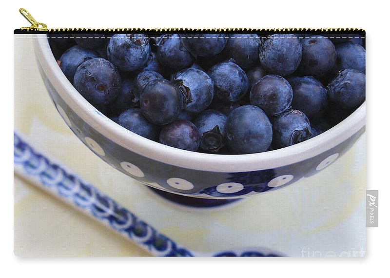 Food Carry-all Pouch featuring the photograph Blueberries In Polish Pottery Bowl by Carol Groenen