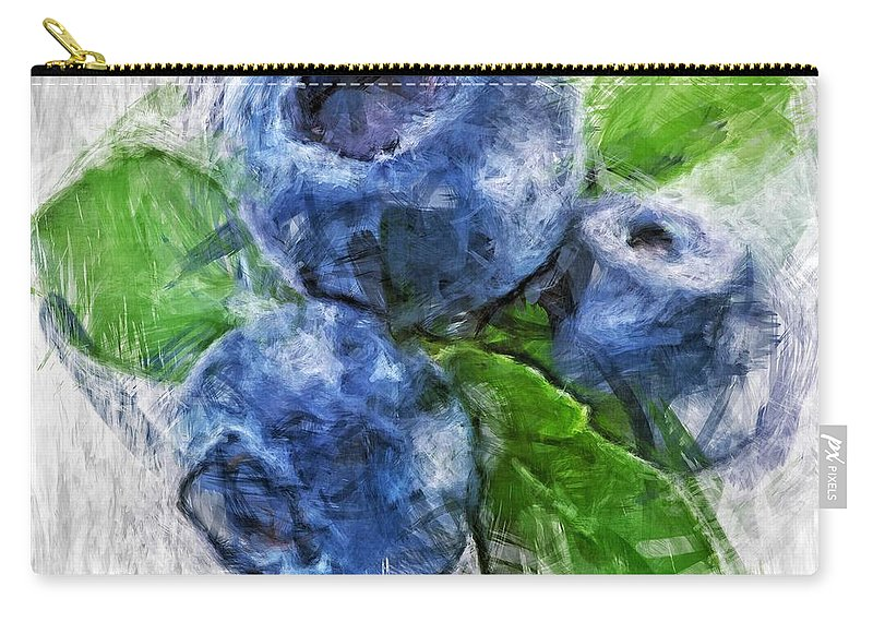 Blueberries Carry-all Pouch featuring the digital art Blueberries by Tanya Gordeeva