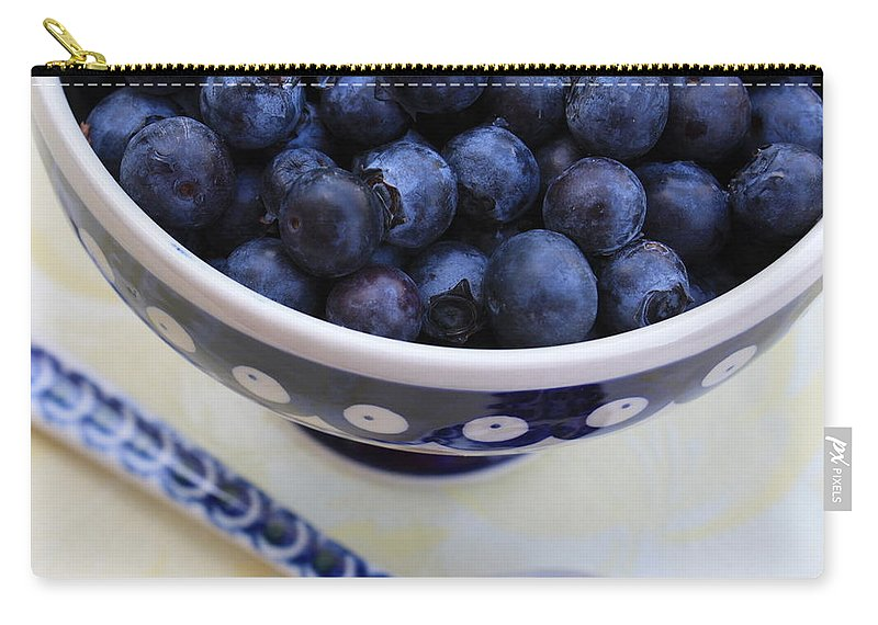 Food Carry-all Pouch featuring the photograph Blueberries With Spoon by Carol Groenen