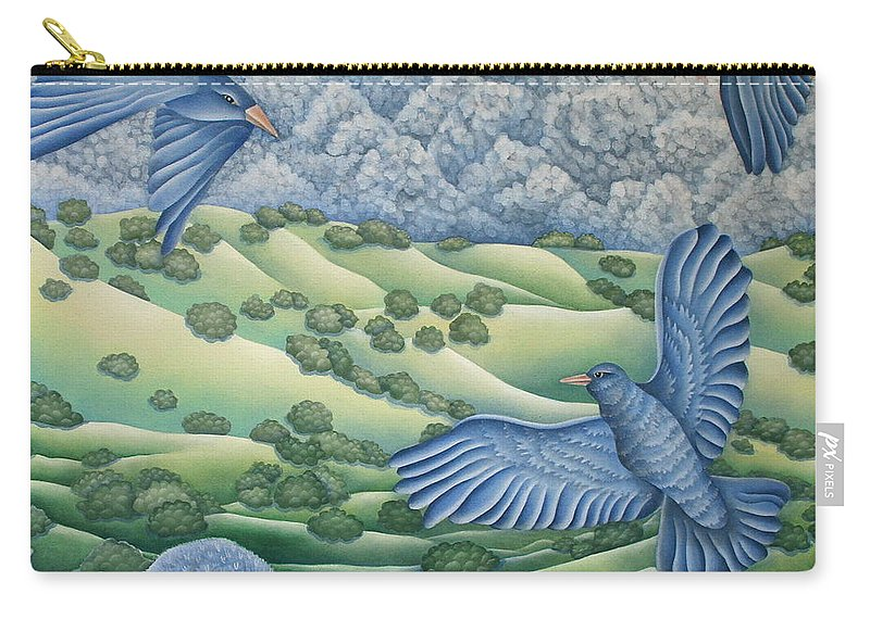Carry-all Pouch featuring the painting Bluebirds Of Happiness by Jeniffer Stapher-Thomas