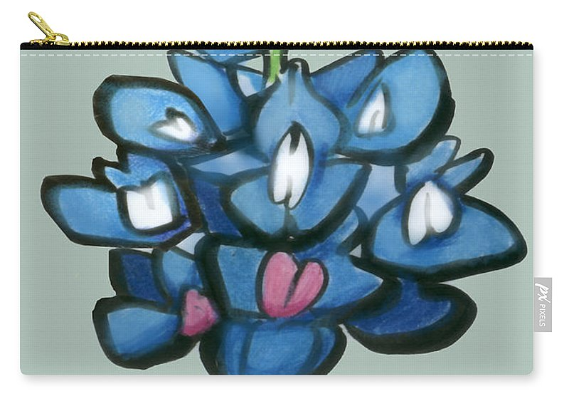 Bluebonnet Carry-all Pouch featuring the digital art Bluebonnet by Kevin Middleton