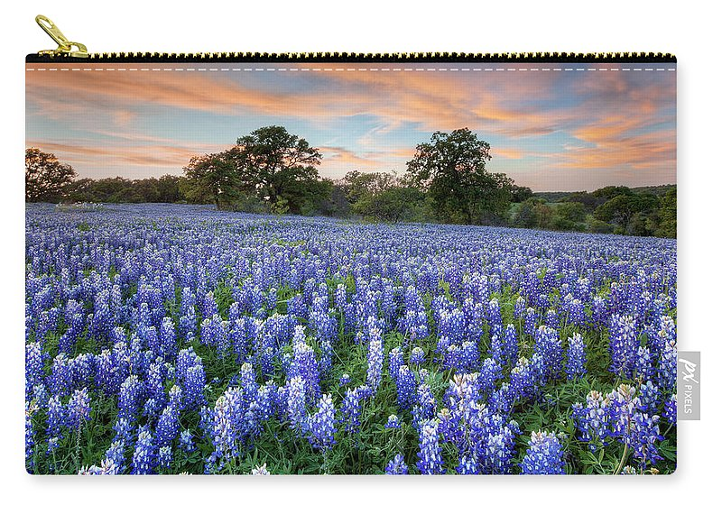 Bluebonnets Carry-all Pouch featuring the photograph Bluebonnets On A Spring Evening 403-1 by Rob Greebon