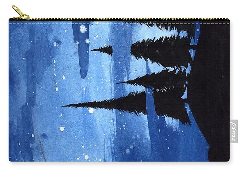 Landscape Carry-all Pouch featuring the painting Bluenight by Dhruv Patel