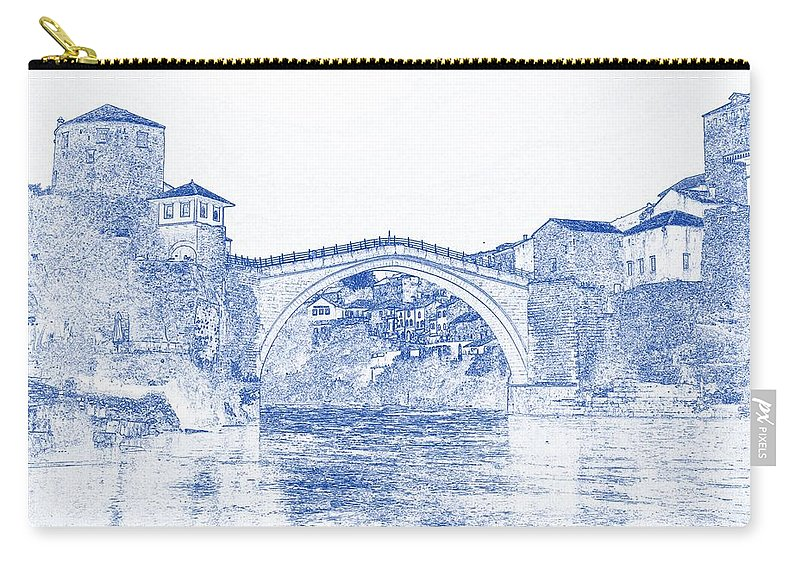 Blueprint Drawing Of Modern Building 11 Bosnia Stari Europe Herzegovina Old Balkan Town Carry-all Pouch featuring the painting Blueprint Drawing Of Modern Building 11 Bosnia Stari Europe Herzegovina Old Balkan Town by Celestial Images