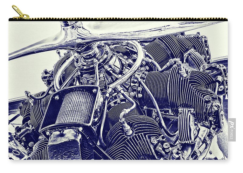 Airplane Carry-all Pouch featuring the photograph Blueprint Radial by Steven Richardson