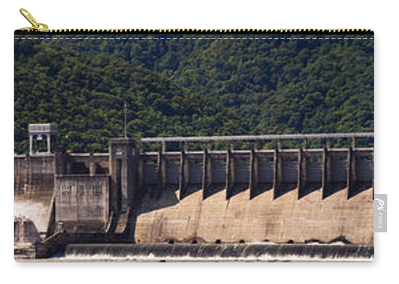 Bluestone Carry-all Pouch featuring the photograph Bluestone West Virginia Dam Panorama by Teresa Mucha