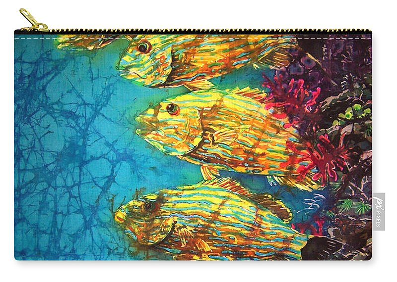Bluestriped Grunts Carry-all Pouch featuring the painting Bluestriped Grunts by Sue Duda