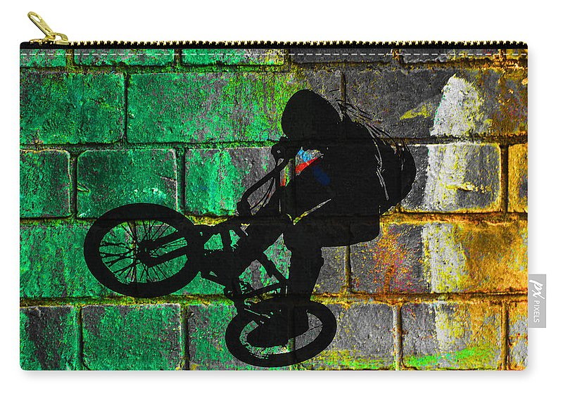 Bmx Carry-all Pouch featuring the digital art Bmx II by David Pringle