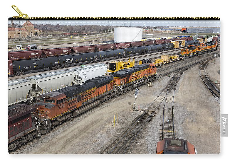 Train Carry-all Pouch featuring the photograph Bnsf Northtown Yard 5 by John Brueske