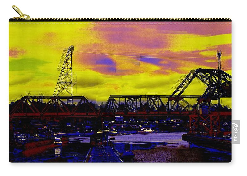 Seattle Carry-all Pouch featuring the photograph Bnsf Trestle At Salmon Bay by Tim Allen