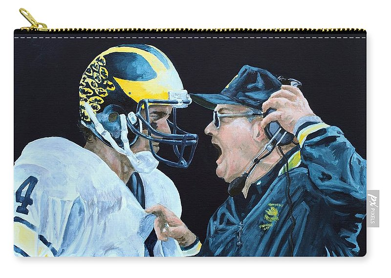 Michigan Carry-all Pouch featuring the painting BO Knows by Travis Day